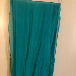 Gudrun Sjoden Green Crinkled Silk Scarf,  NWOT